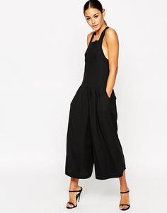 Image 1 ofASOS Pinafore Jumpsuit with Culotte Wide Leg