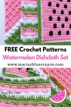 A free crochet pattern of a dishcloth set. Do you also want to crochet this dishcloth set? Read more about the Free Crochet Pattern Watermelon Dishcloth Set. Crochet Home, Crochet Crafts, Free Crochet, Knit Crochet, Free Easy Crochet Patterns, Crochet Angels, Crochet Birds, Crochet Ornaments, Crochet Snowflakes