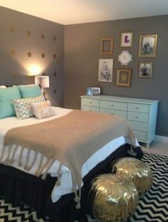 maybe a neutral wall with gold fixtures and mint furniture with neutral bedding and pop of mint??