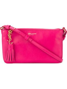 SAINT LAURENT 'Monogram' Crossbody Bag. #saintlaurent #bags #shoulder bags #leather #lining #crossbody #cotton