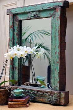 Absolutely stunning mirror created using an entire, solid teak, Indian window frame. maybe 'Florence'