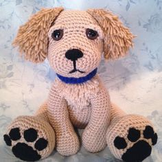 This adorable golden retriever puppy sits about 11 inches tall and would make a great gift for any dog lover in your life, or anyone who would like to love a dog but doesnt have the time to care for one! Please note that this listing is for the crochet pattern only, not for the finished item. It is written in standard US crochet terms. This pattern calls for the following techniques: single crochet, half double crochet, chain stitch, slip stitch, magic circle, increase, standard decrease…