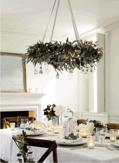 Hanging Wreaths from the Ceiling- white table cloth and my chairs