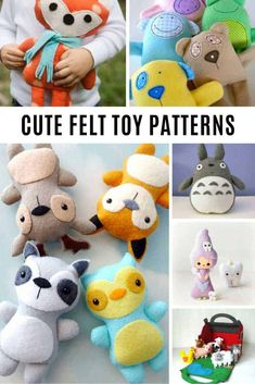 So many super CUTE DIY felt doll patterns! Who could resist these totally cute felt plushie toys? Felt Doll Patterns, Felt Animal Patterns, Felt Crafts Patterns, Felt Crafts Diy, Stuffed Animal Patterns, Decor Crafts, Diy Doll Pattern, Paper Crafts, Felt Kids