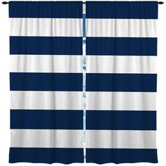 Custom Window Curtains - Made to Order - Any design - Any size ANY COLOR  Shown Navy, Red, Grey and white BOLD horizontal stripe    ** 4th image has 12