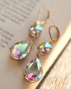Aurora Borealis Rainbow Gold Earrings Estate от NotOneSparrow