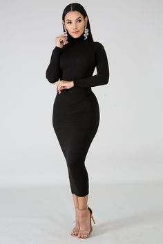 Compared - Trouble-Free Secrets Of Deciding On Pretty Black Dress Accessories And Jewelry - Fashion You Elegant Outfit, Classy Dress, Classy Outfits, Elegant Dresses, Chic Outfits, Fall Outfits, Casual Dresses, Winter Dresses, Trendy Outfits