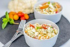 Couscous de chou-fleur #choufleur #couscous #lowcarb #lowcarbrecipes #cauliflower #salad #easyrecipes #sainealimentation #nutrition # nutritionniste #dietitian #healthyfood #healthyrecipes Couscous, Healthy Recipes, Nutrition, Potato Salad, Macaroni And Cheese, Grains, Rice, Potatoes, Isabelle Huot