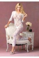 WHITE FOOTLESS BOW LACE CRISS CROSS BACK BODYSTOCKING