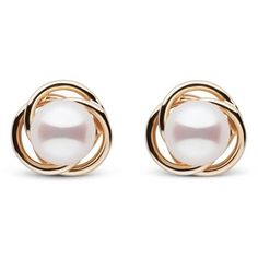 Trilogy Collection White Akoya Pearl Earrings ($158) ❤ liked on Polyvore featuring jewelry, earrings, earring jewelry, loop earrings, 14 karat gold earrings, 14k earrings and 14 karat gold jewelry