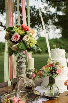Vintage Style Cake Table Outdoor Wedding Centerpieces I Good Earth Floral Design Studio Mod Wedding, Chic Wedding, Wedding Events, Rustic Wedding, Dream Wedding, Reception Decorations, Wedding Centerpieces, Wedding Tables, Romantic Decorations