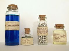"""Polyjuice Potion (Harry Potter): water with food colour Athelas (Lord of the Rings): dried peppermint leaves Adamantium (X-men): silver sugar pearls In Norwegian: """"Getafix Mighty Magical Strength Potion Effective against Romans, Vikings, Pirates and bullies in general"""" (Asterix and Obelix): olive oil"""