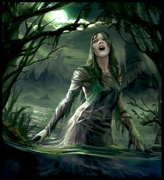 Rusalka - a Rusalka was a female ghost, water nymph, succubus, or mermaid-like demon that dwelled in a lake. She was considered a being of evil force. The ghostly version is the soul of a young woman who had died in or near a lake (many of these rusalki had been murdered by lovers) and came to haunt that lake; this undead Rusalka is not invariably malevolent, and will be allowed to rest in peace if her death is avenged.