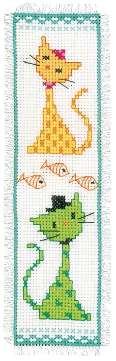 Yellow and Green Cat Bookmark Cross Stitch Kit | sewandso