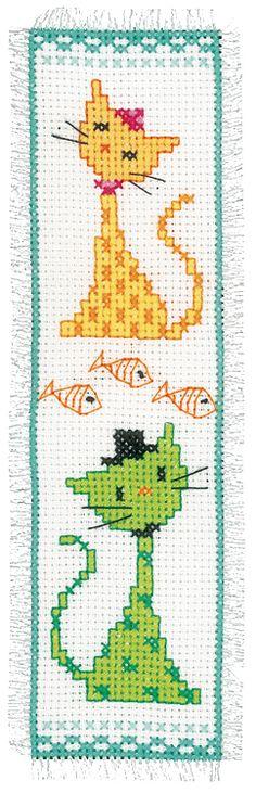 Yellow and Green Cat Bookmark Cross Stitch Kit   sewandso