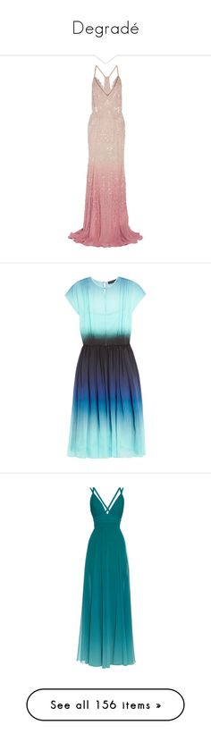 """""""Degradé"""" by lo2lo2a ❤ liked on Polyvore featuring dresses, gowns, pink, long dresses, pastel pink, beaded gown, pink evening gowns, pink slip, beaded dresses and roberto cavalli gowns"""
