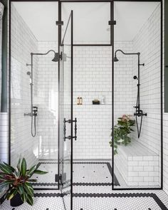 Home Interior Design black and white bathroom walk in shower with built in seat.Home Interior Design black and white bathroom walk in shower with built in seat Bad Inspiration, Bathroom Inspiration, Bathroom Inspo, Shower Bathroom, Design Bathroom, Master Shower, Bathroom Carpet, Shower Tiles, Bathroom Colors