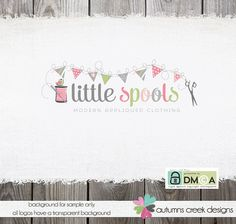 Premade Logo Design -  Hand Drawn Spool Thread Bird Bunting and scissors Applique Sewing Logo