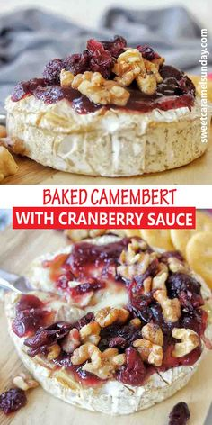 Recipe for oven baked Camembert Cheese with cranberry sauce, walnuts and dried cranberries. This easy appetizer comes together is less than 20 mins and will get your party started. #bakedcheese #thanksgivingrecipes #christmasrecipes @sweetcaramelsunday Camembert Recipes, Baked Camembert, Camembert Cheese, Quick And Easy Appetizers, Easy Appetizer Recipes, Cranberry Cheese, Cranberry Sauce, Fun Desserts, Dessert Recipes