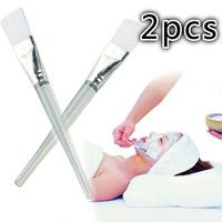 Wish | 2X Clear Handle Facial Face Skin Care Mud DIY Masks Soft Applicator Mixing Brush