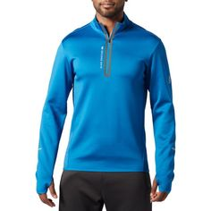 Second Skin Men's Training 1/4 Zip Long Sleeve Top, Size: Medium, Blue