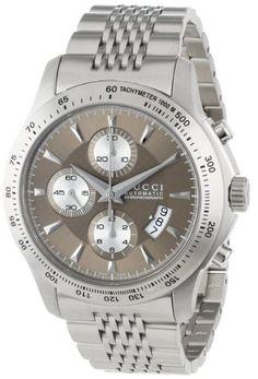 Gucci Men's YA126213 G-Timeless Chronograph Brown Dial Steel Bracelet Watch