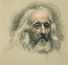 John Linnell, *Samuel Palmer in Old Age*, white, black, and red chalk on paper
