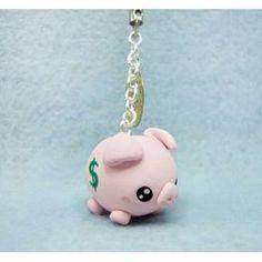 piggy bank,keychain, mobile accesories, fimo, handmade,llavero,colgante de…