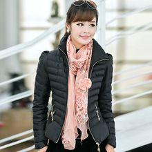 Mulheres Plus Size Ultra Leves Casuais Inverno Pato Quente Para Baixo jaqueta de Zíper Casacos Gola fino Terno Outwear Parka Feminino topos(China (Mainland))