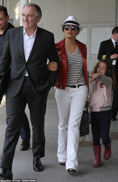 salma hayek casual style - Google Search How can she pull off a stripe?
