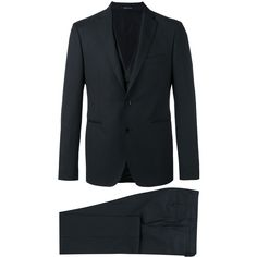 Tagliatore Three Piece Suit ($579) ❤ liked on Polyvore featuring men's fashion, men's clothing, men's suits and mens wool suits