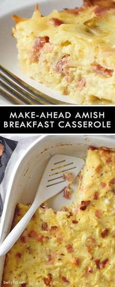 This hearty homestyle Make-Ahead Amish Breakfast Casserole is filled with hash browns, cheese, bacon, and chicken sausage. So easy. Perfect for a weekend brunch or holiday get together! Make Ahead Breakfast Casserole, Hashbrown Breakfast Casserole, Breakfast Dishes, Breakfast Time, Best Breakfast, Breakfast Recipes, Breakfast Ideas, Overnight Breakfast, Savory Breakfast