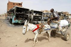 BURNED OUT: A man on a donkey rode past burned buses in Khartoum, Sudan, Thursday. The Sudanese army deployed troops after days of rioting over gas-price hikes left at least 30 people dead. (Abd Raouf/Associated Press)-9/2013