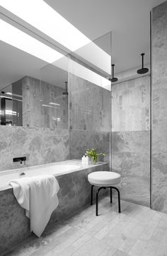 { MIM Design have designed the interiors of the MAH Residence, a newly built home located in Brighton, Australia. Also, kitchens and bathrooms by MIM Design always catch my eye. Grey Marble Bathroom, Grey Bathrooms, Beautiful Bathrooms, Modern Bathroom, Bathroom Trends, Bathroom Ideas, Silver Bathroom, Nature Bathroom, Restroom Ideas