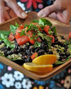 Happy Salad - black beans, quinoa, tomatoes and cilantro...healthy, feel good food!