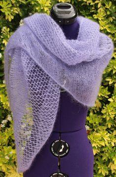 Châle tricoté main, étole en dentelle, chèche en mohair et soie avec points ajourés, coloris mauve