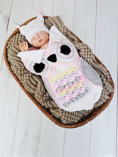 Bundle Baby in a darling owl cocoon set that features unique crocodile stitches across the front.