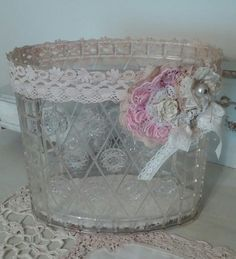 Vintage Tissue Box Covers Shabby Chic Bathroom Decor Lace Tissue