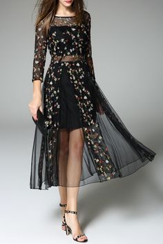 Sheer Tiny Flower Embroidered Dress