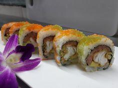 """Este año se suma Matsuei Sushi Bar con su #WishDish llamado """"Roll Make-A-Wish"""": Spicy Salmón, langostino tempura, aguacate y chispita tempura recubierto de masago y wasabi masago, plato creado exclusivamente para el mes de septiembre. ¡Tienes que probarlo!"""