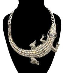 Bold Croc Necklace in Silver Tone with Rhinestones