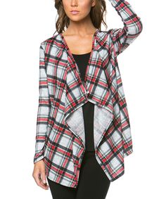 Magic Fit Gray & Red Plaid Open Cardigan by Magic Fit #zulily #zulilyfinds