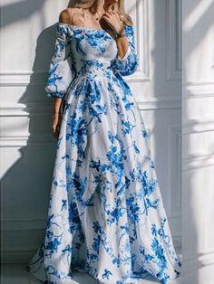 Multicolor, Off Shoulder, Bird Print, Floral Print, Maxi Dress, Empire Dress