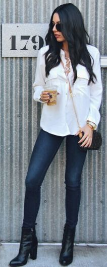 Leather To Lunch Black Boots Skinny Jeans White Lace Up Shirtdress Fall Inspo