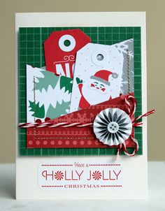 Have a Holly Jolly Christmas Card by Piradee Talvanna    Supplies: Sinter Klaas Paper (35479) - Hollyday, Bowl Full of Jelly Paper (35488) - Hollyday, Christmas Gnome Paper (35498) - Hollyday, Old Man Winter Paper (35480) - Hollyday, Printed Variety Tags (85555) - Bits, Peppermint (72014) - Delights, Winter Wonderland Accent & Journaling Stickers (42201) - Remarks Books, Garland (89407) - Premium Ribbon