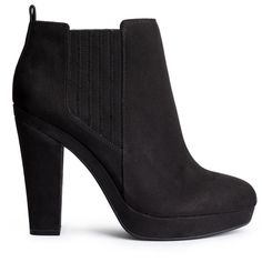 H&M Ankle boots ($43) ❤ liked on Polyvore featuring shoes, boots, ankle booties, black, short boots, black platform boots, high heel ankle boots, high heel booties and platform booties