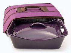 Stoneware Covered Baker with Bonus Insulated Carrier: Eggplant by Rachael Ray at Food Network Store