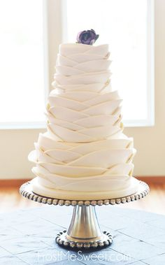 sweet fondant ruffle wedding cake by Frost Me Sweet