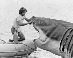 "even though i know it's fake it's still so scary!! Rare Behind The Scenes ""Jaws"" Photo"