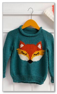 Вязание спицами. Пуловер-реглан с жаккардовой лисичкой, для мальчика 4 (5, 6) лет